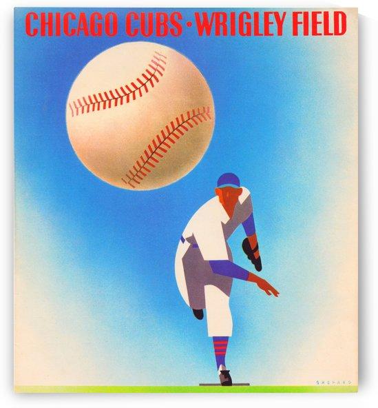 RetroRemix_ChicagoCubsWrigleyFieldArtPoster_VintageCubsArtwork_VintageBaseballPoster by Row One Brand
