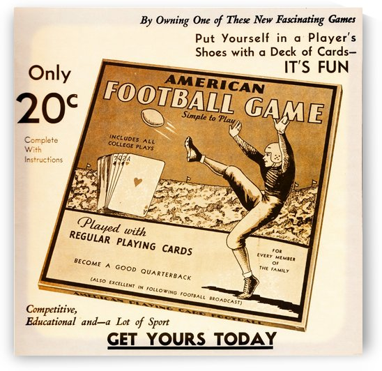 American Football Card Game Ad 1935 by Row One Brand