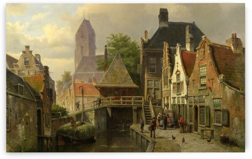 City scene on the canal by Willem Koekkoek