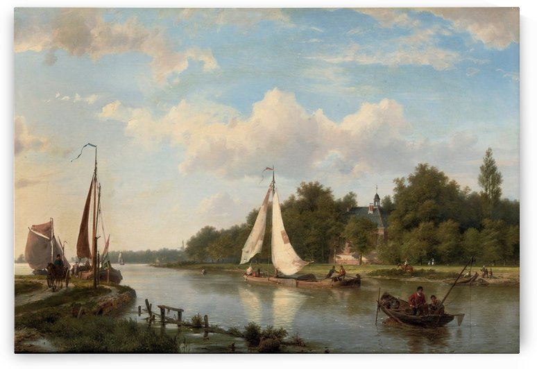 Along the river on a sunny afternoon by Willem Koekkoek