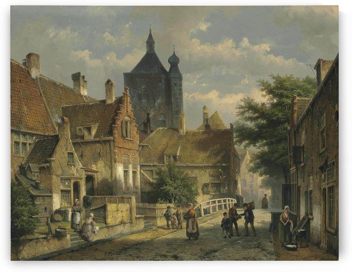 Villagers on a Sunlit Dutch Street by Willem Koekkoek