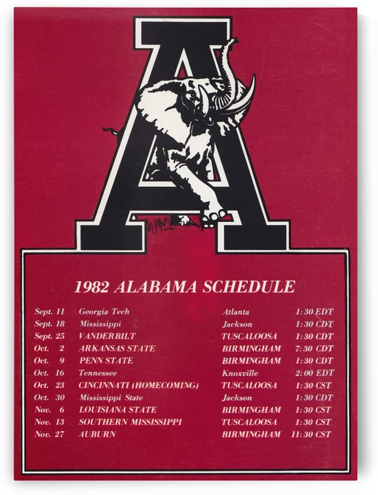 1982 alabama football schedule by Row One Brand