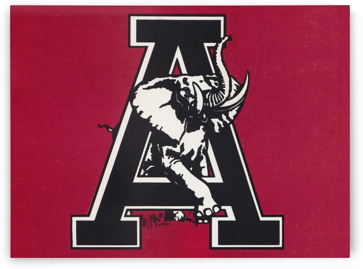 vintage alabama a elephant artwork 1982 college poster by Row One Brand