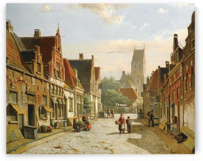 Street scene with church on the back by Willem Koekkoek