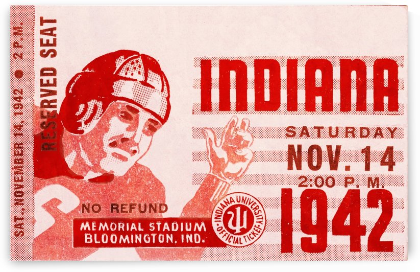 1942 Indiana Football Art by Row One Brand