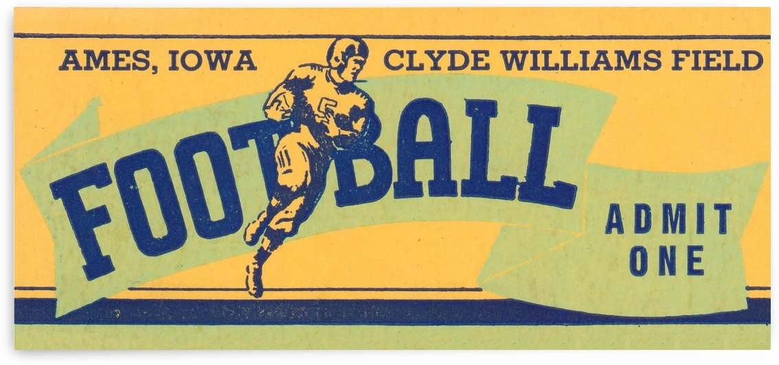 1939 Ames Football Admit One Ticket by Row One Brand
