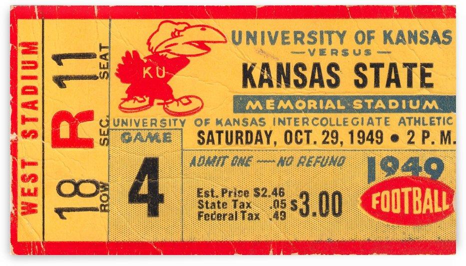 1949_College_Football_Kansasvs.KansasState_MemorialStadium_Vintage_Jayhawk_Art by Row One Brand