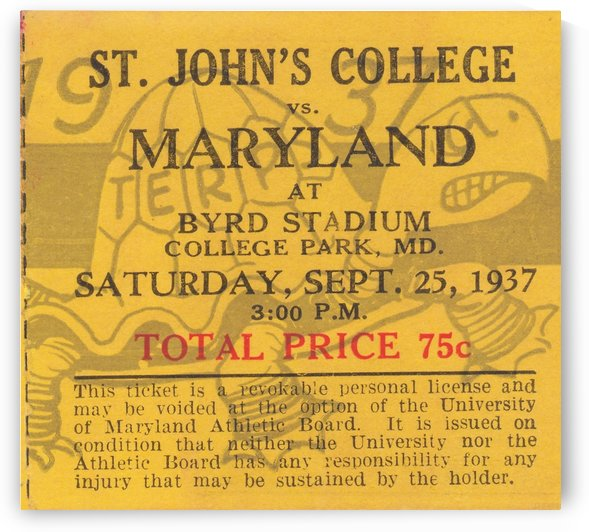 College_Football_TicketArt_Maryland_Terrapins_St._Johns_ByrdStadium_Ticket_Art by Row One Brand