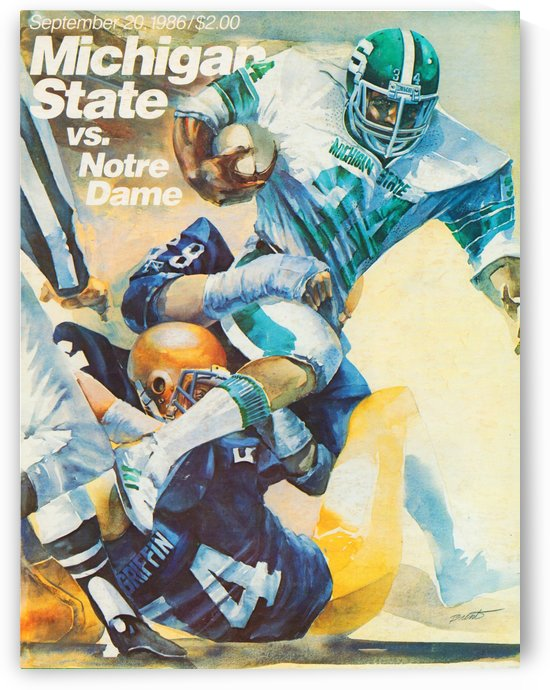 1986 Michigan State Spartans Football Art by Row One Brand