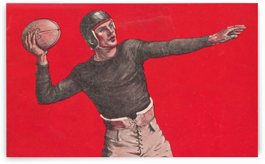 Vintage_Quarterback_Art_Red by Row One Brand