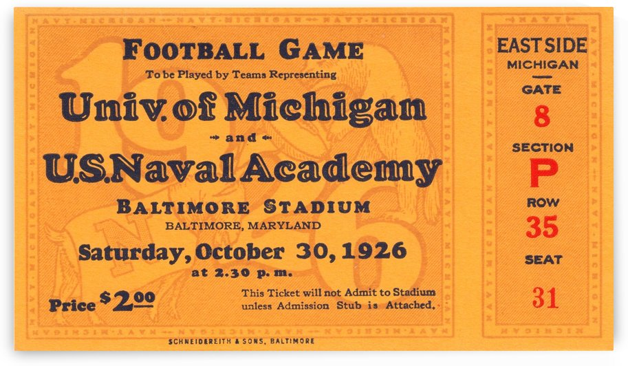 1926 Michigan vs. Navy by Row One Brand