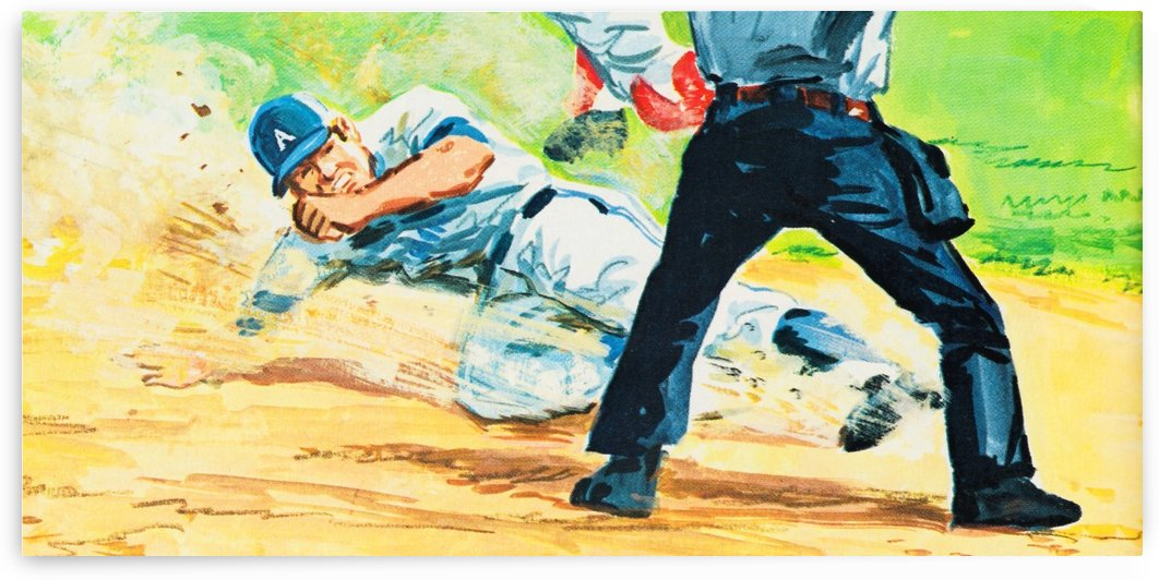 safe at home baseball art by Row One Brand