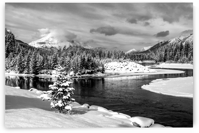 Snowy Bow River Canmore Alberta by Mike Gould Photoscapes