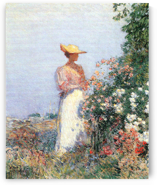 Woman in Garden by Hassam by Hassam