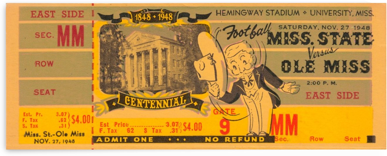 1948 ole miss rebels football ticket stub metal sign wood print poster art ticket stub collection by Row One Brand