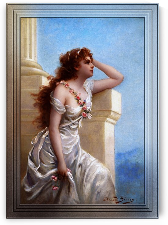 A Young Beauty With A Wreath Of Roses by Edouard Bisson by xzendor7