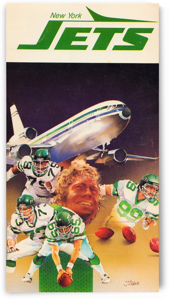 1982 new york jets art artist george zebot by Row One Brand