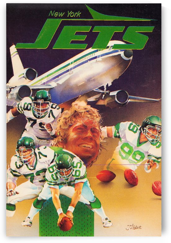 vintage new york jets poster art artist george zebot row one brand sports posters by Row One Brand
