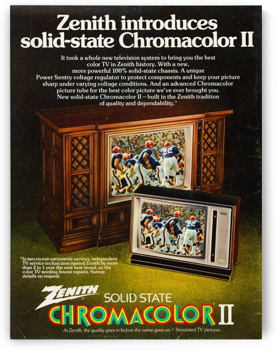 old television ads vintage zenith chromacolor II vintage florida gators helmet uniform retro ad art by Row One Brand
