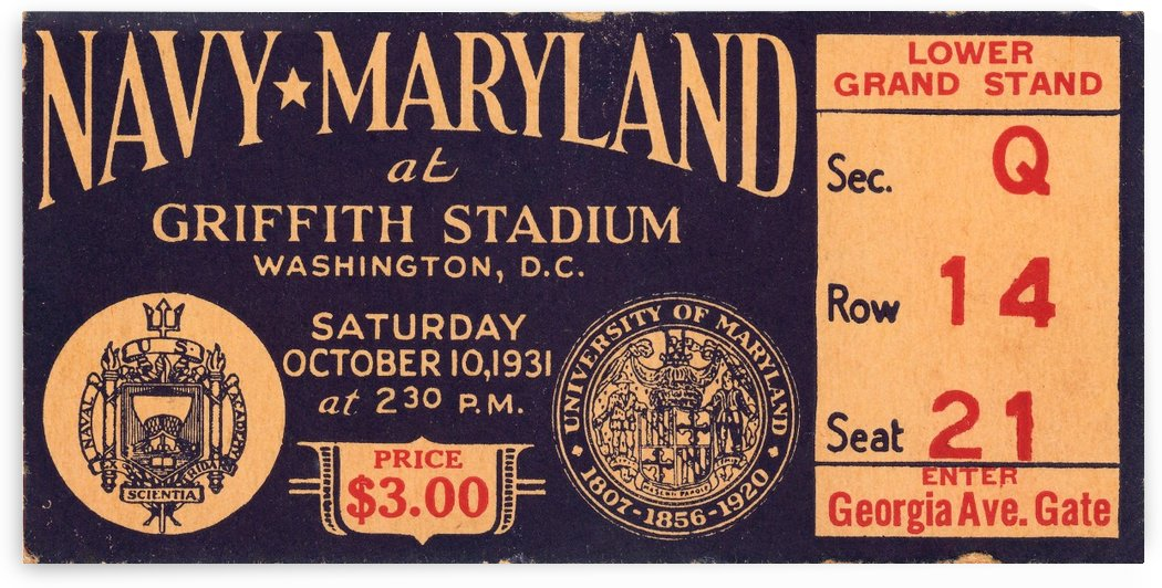 1931 Navy vs. Maryland by Row One Brand