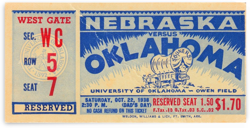 1938_College_Football_Oklahoma_Sooners_Nebraska_Owen_Field_Ticket_Stub_Sports_Art_Metal_Signs by Row One Brand