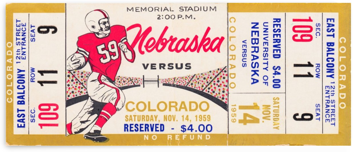 1959_College_Nebraska_Football_Colorado_Memorial_Stadium_Husker_Ticket_Collection by Row One Brand