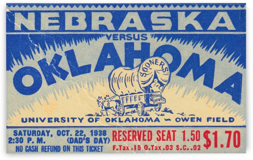 oklahoma football metal sign sooners ticket stub collection row 1 row one vintage sports art brand by Row One Brand