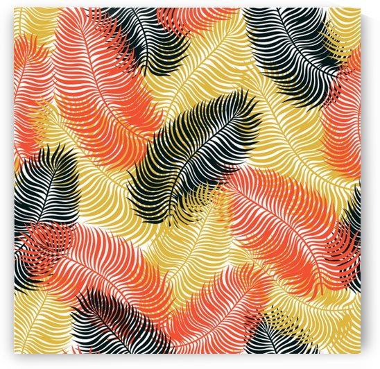 tropical seamless pattern with exotic palm leaves by Shamudy