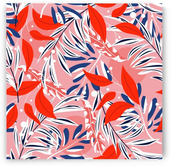 tropical seamless pattern with colorful leaves plants by Shamudy