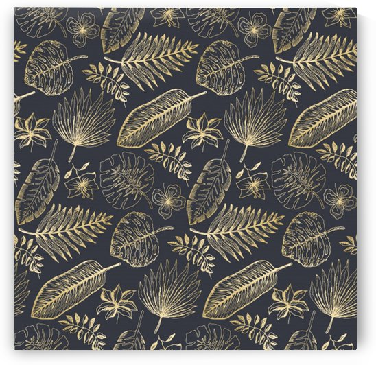 elegant pattern with golden tropical leaves by Shamudy