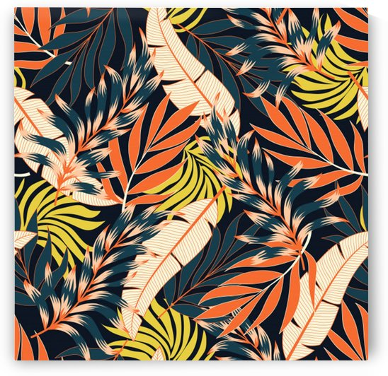 original seamless tropical pattern with bright orange flowers_ by Shamudy