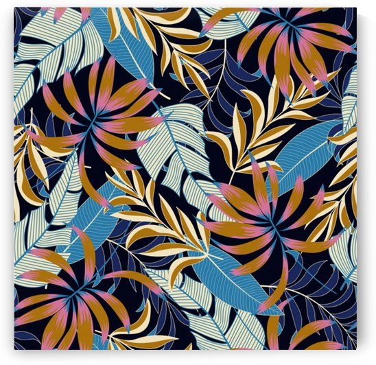 original seamless tropical pattern with bright blue pink flowers by Shamudy