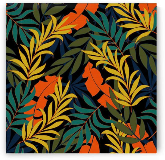 fashionable seamless tropical pattern with bright green blue plants leaves_ by Shamudy