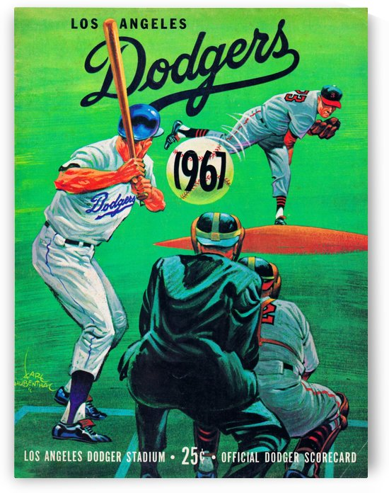 1967 la dodgers scorecard dodger stadium vintage baseball poster metal sign wood prints sports art by Row One Brand