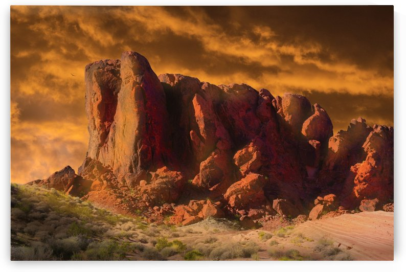 Crumbling Sandstone Monolith Indian Point Sunset by Frank Wilson