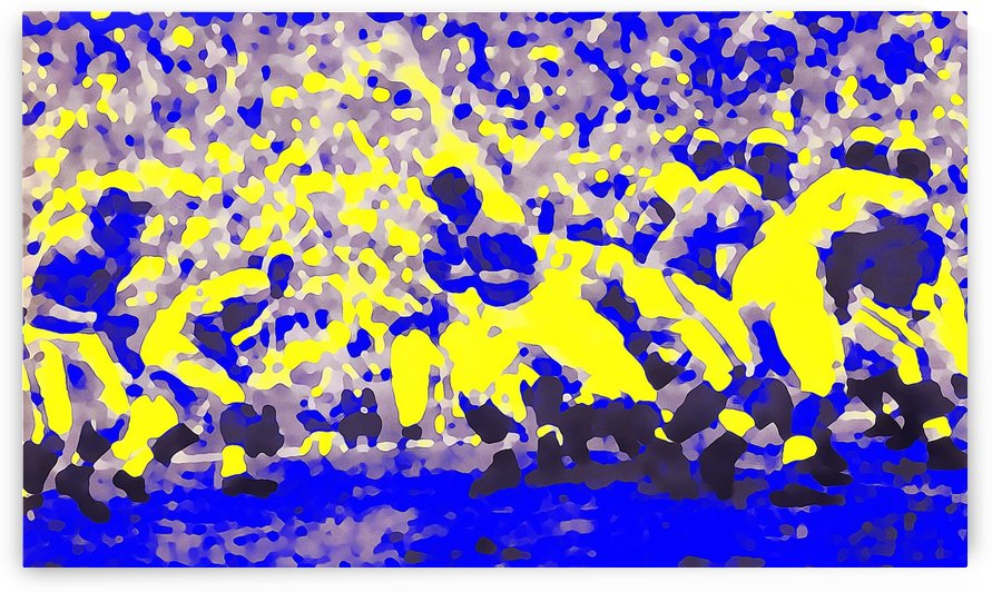 abstract football art poster print sports blue yellow home decor by Row One Brand