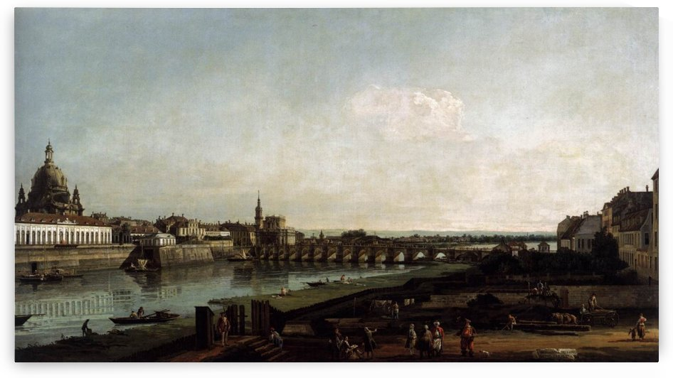Dresden from the Right Bank of the Elbe, above the Augustusbrucke by Bernardo Bellotto