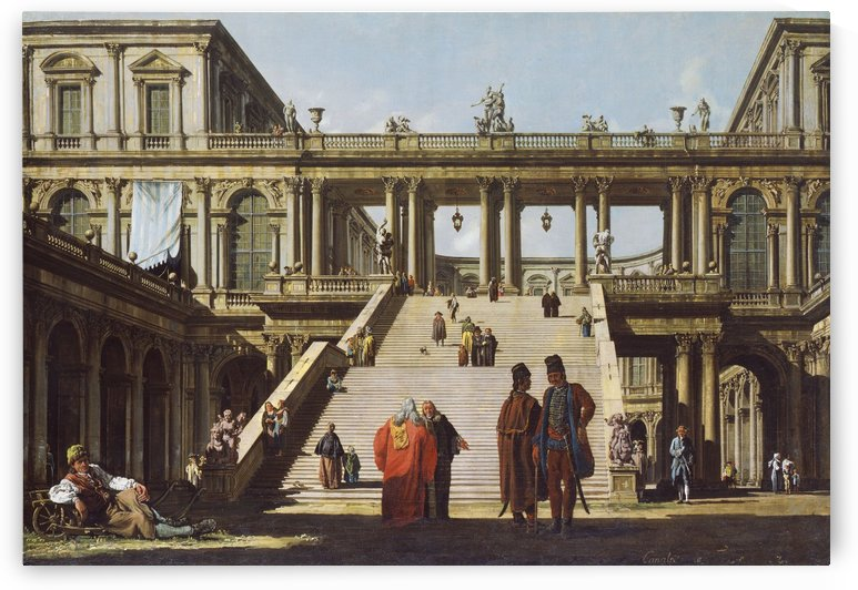 Street scene outside palace by Bernardo Bellotto
