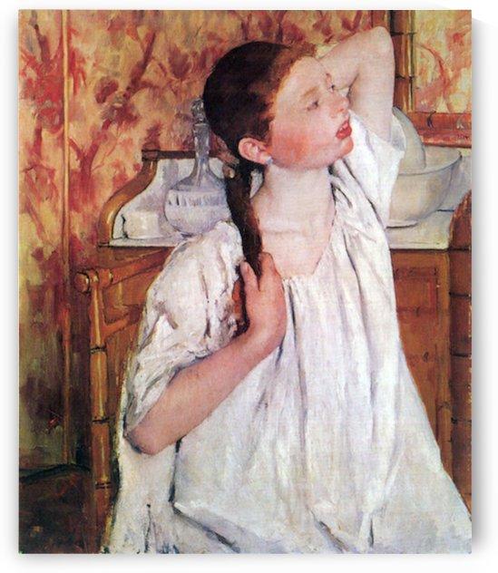 Girl arranging her hair by Cassatt by Cassatt