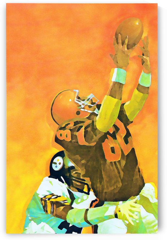 cleveland browns watercolor poster retro sports art reproductions metal signs football prints wood by Row One Brand