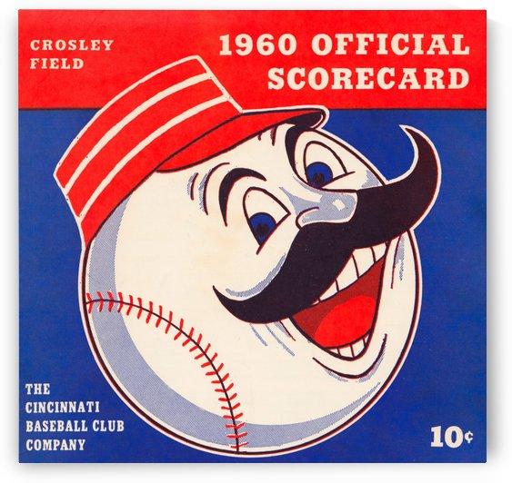 retro cincinnati reds scorecard metal sign baseball art prints wood sports posters vintage by Row One Brand