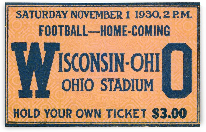 ticket stub metal sign osu buckeyes football vintage tickets wood prints by Row One Brand