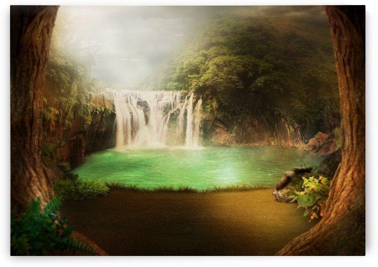 background image waterfall jungle by Shamudy