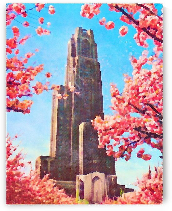 university pittsburgh cathedral learning tall gothic building historic places poster canvas art wall by Row One Brand