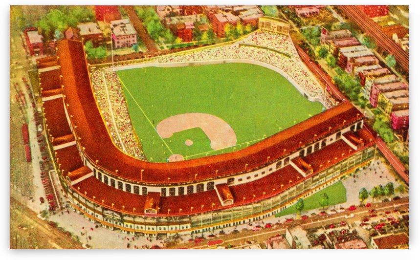 vintage wrigley field baseball stadium art by Row One Brand