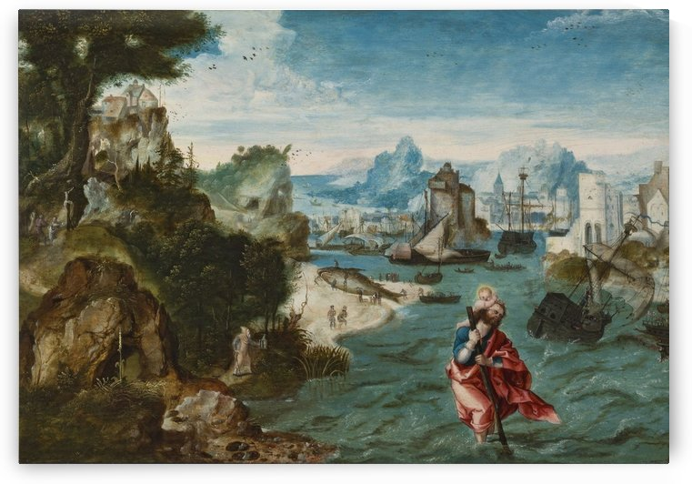 A man with a child in the river by Cornelis Van Dalem