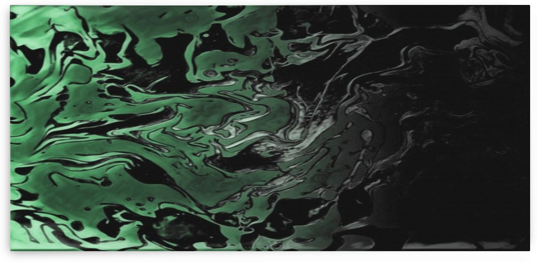 Black Tropical Forest - green gray black gradient swirl abstract wall art by Jaycrave Designs