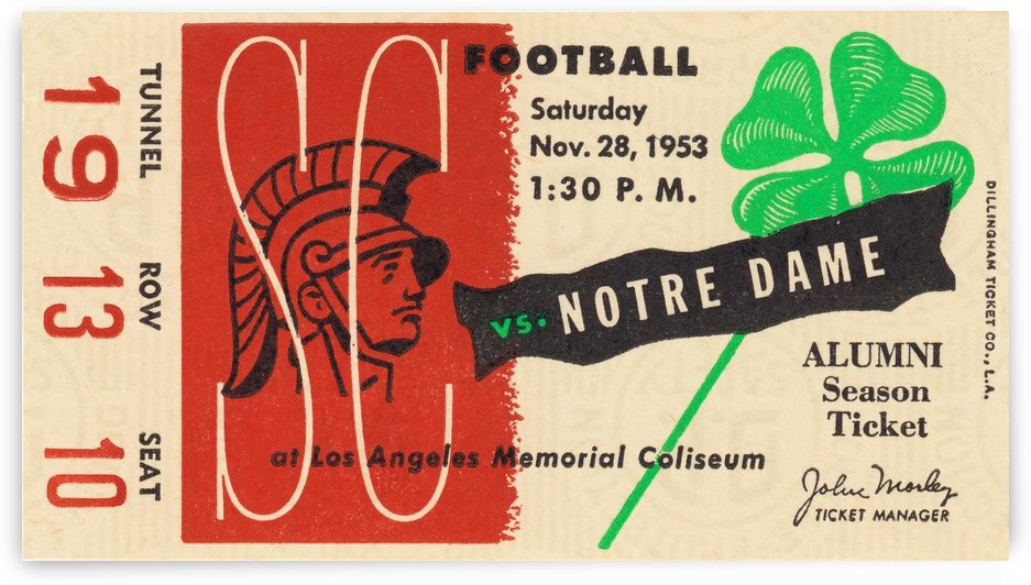 1953 USC vs. Notre Dame by Row One Brand
