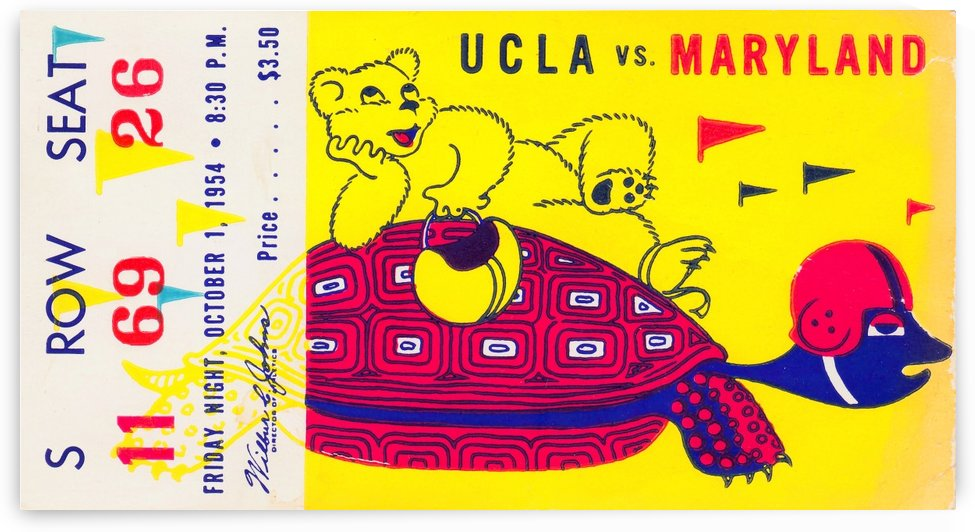 1954 ucla bruins football ticket stub maryland friday night vintage cartoon art poster retro college by Row One Brand