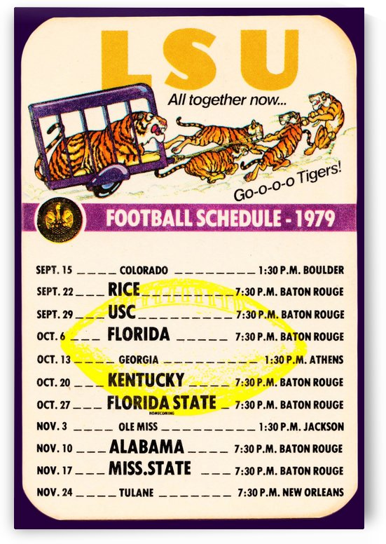 1979 LSU Tigers Schedule by Row One Brand
